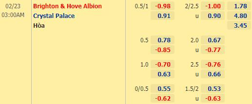 Nhận định bóng đá Brighton vs Crystal Palace, 03h00 ngày 23/02: Ngoại hạng Anh